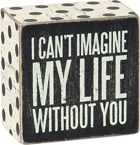 Primitives by Kathy Polka Dot Trimmed Box Sign 3 x 3-Inches Can't Imagine