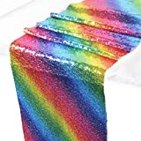 Leegleri 12 x 108 inch Sequin Table Runner Rainbow Table Runner Sparkly Sequin Glitter Iridescent Table Runner for Wedding , Birthday Party, Dinner &Home Decor(6 ft, Table Runner)