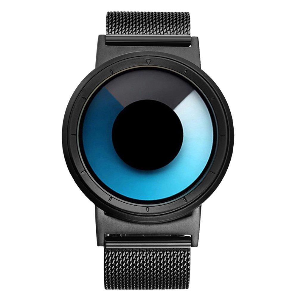 Amazon.com: IBSO Men Creative Rotation Watches Hide Watch-Head Quartz Wristwatches Sports Waterproof Watch (Blue Black): Home & Kitchen