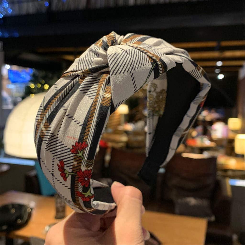 Women Headbands Head Hair Bands Boho Plaid Floral Print Bow Knot Wide Hair Accessories Headwear Bandanas WEI MOLO