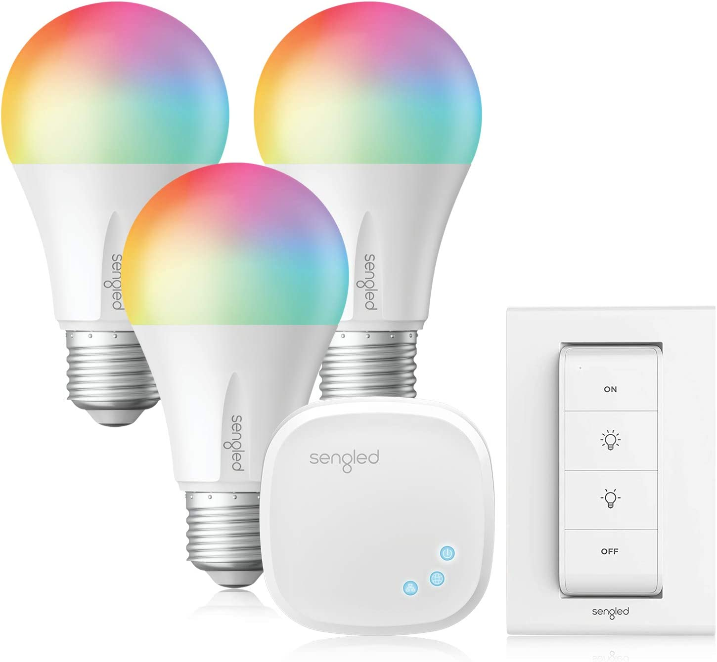 Sengled Smart Light Bulbs, Alexa Light Bulbs RGB Color Changing, Smart Bulb That Works with Alexa, Google Home, 3 Pack Starter Kit with Smart Switch, A19 E26 Dimmable LED 60W Equivalent, 800LM