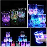 [Multiple 6 Sets] Water Activated LED Light Cup, Automatic Flash Wave By Pouring Liquid In, With Blinking Octagonal Marble Texture. Beer Whisky Shot Glass Mug, Bar Club Night Party Drink Ware - 7 oz