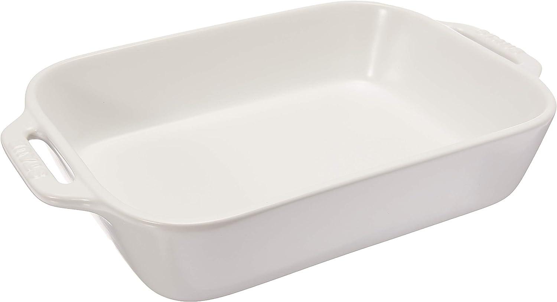Staub Ceramics Rectangular Baking Dish, 10.5x7.5-inch, Matte White