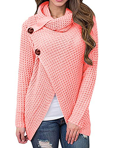 Daomumen Maternity Pullovers Women's Casual Pregnant O-Neck Cotton Nursing up Long Sleeve Knit Sweaters (Large(US12-14), X-Rose Red) (Cotton Nursing Coat)