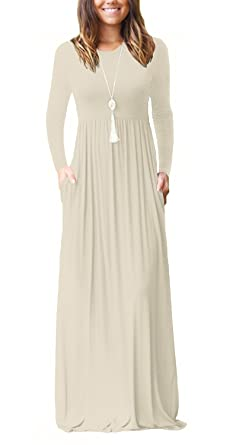 c26dd1df0884c Women s 3 4 Sleeve Maxi Dress with Empire Waist Solid Long Dresses Apricot S