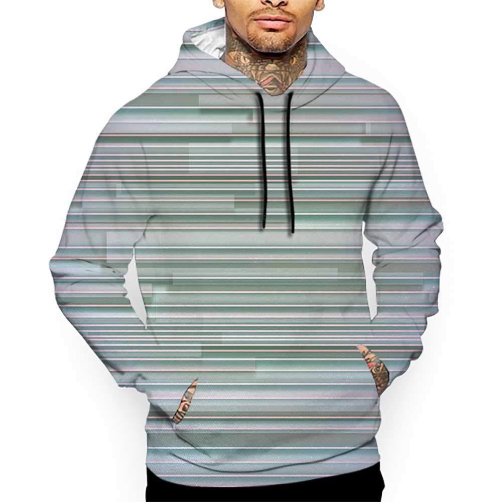 Unisex 3D Novelty Hoodies Minimalist,Mixed Parallel Flat Lines Merging Stripes in Various Levels Work of Art Print,Blue Lilac Sweatshirts for Women