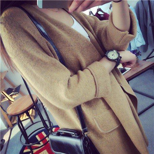 Maglia Maglione Overcoat Sciolto Oversize Color Caldo Nude A Cappotto Cardigan Lunga Manica Soprabiti Donne Minetom qTg47WS0