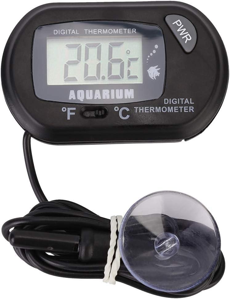 Hffheer Termómetro de Acuario LCD Digital de Alta precisión Medidor de Temperatura de Tanque de Peces con sonda sumergida para Acuario Estanque Reptiles Tortugas Hábitats