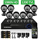 DEFEWAY 8CH 1080N Security DVR 8 1200TVL 720P HD Outdoor Video Surveillance Camera System with No Hard Drive