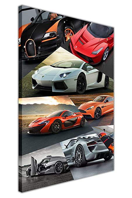 Supercars Collage on Framed Canvas Wall Art Prints Car Pictures SIZE ...