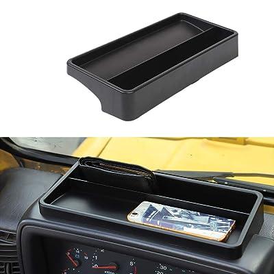 JeCar Dashboard Storage Tray Dash Console Storage Box for 1997-2006 Jeep Wrangler TJ & Unlimited, Black: Automotive