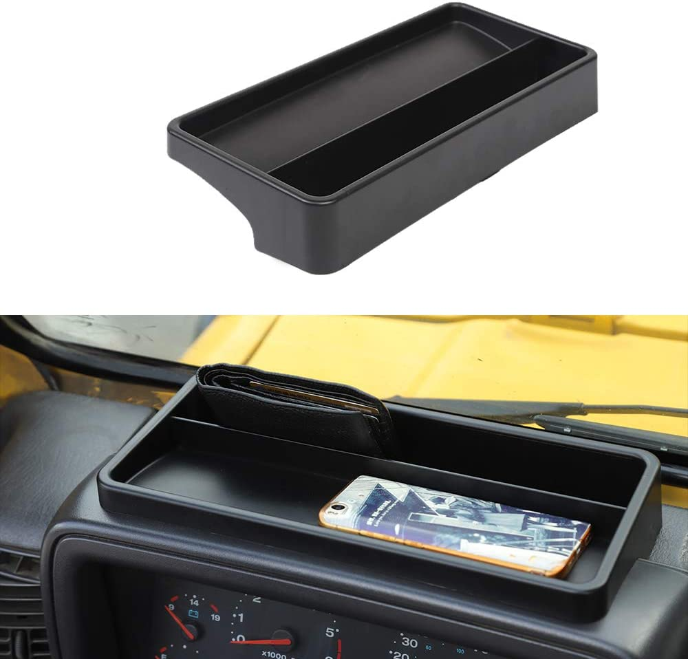 JeCar Dashboard Storage Tray Dash Console Storage Box for 1997-2006 Jeep Wrangler TJ & Unlimited, Black
