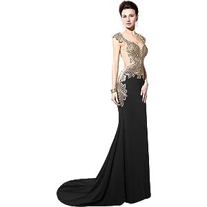 Queens Bridal Womens Sleeveless Evening Gown Appliques Bridesmaid Dress