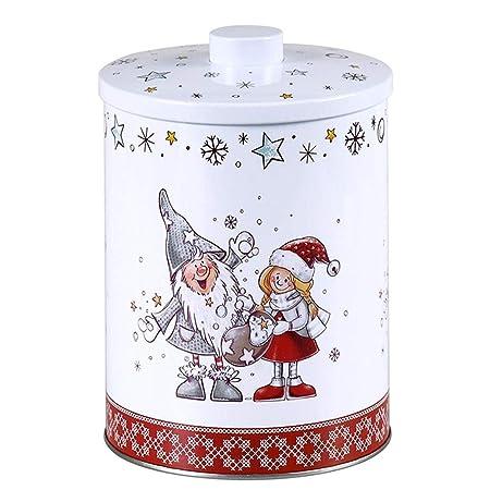 Altom Design - Caja de Metal para Galletas, 10,5 x 10,5 x 4 cm, diseño navideño, diseño 3, 13,5X17,5 CM: Amazon.es: Hogar