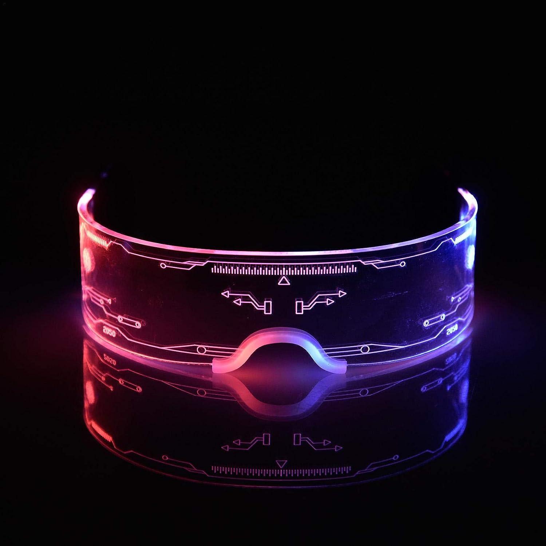 Neon Cyberpunk Futuristic Robot Style Light-Up Glasses