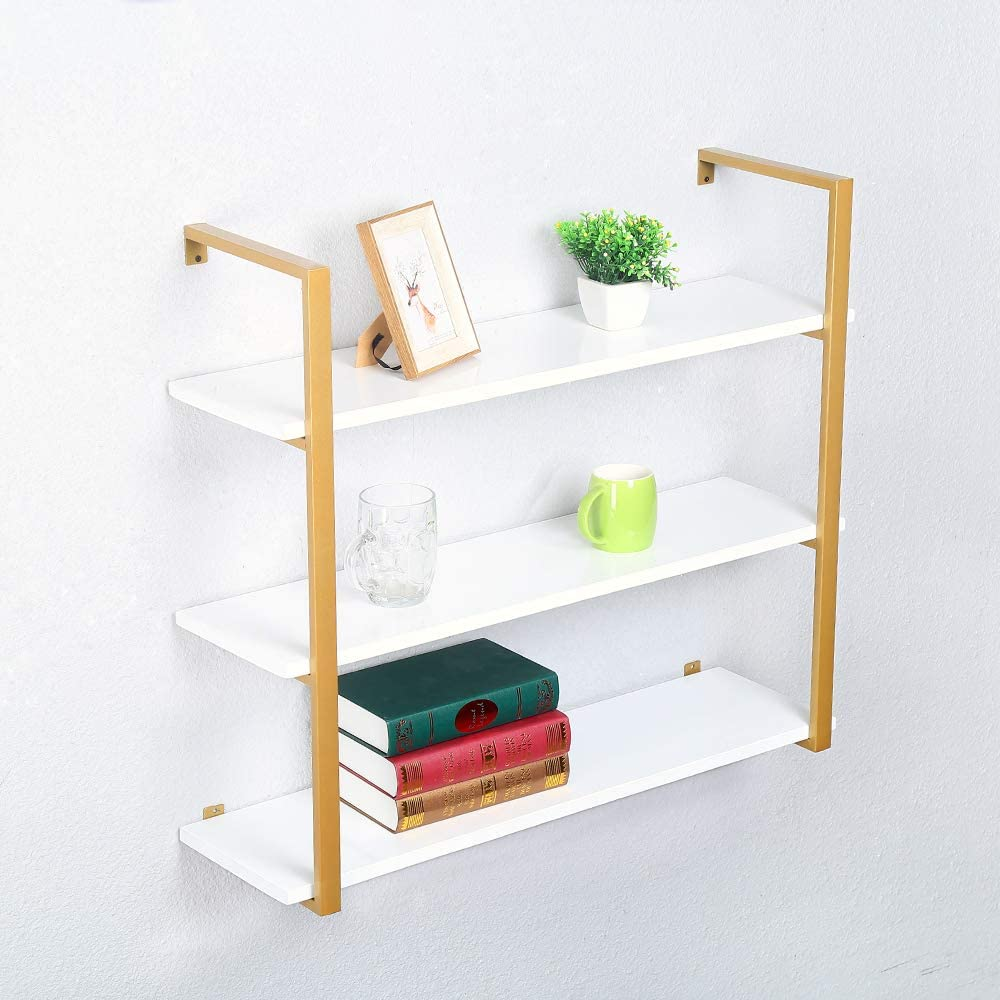 KINGVON Rustic Metal and Wood Wall Shelf Unit,Farmhouse Floating Bookshelf Wall Mounted,Industrial Shelving Iron Wall Shelves,Floating Real Wood Book Shelves for Bedrooms Office(3 Tier,36in,Gold)