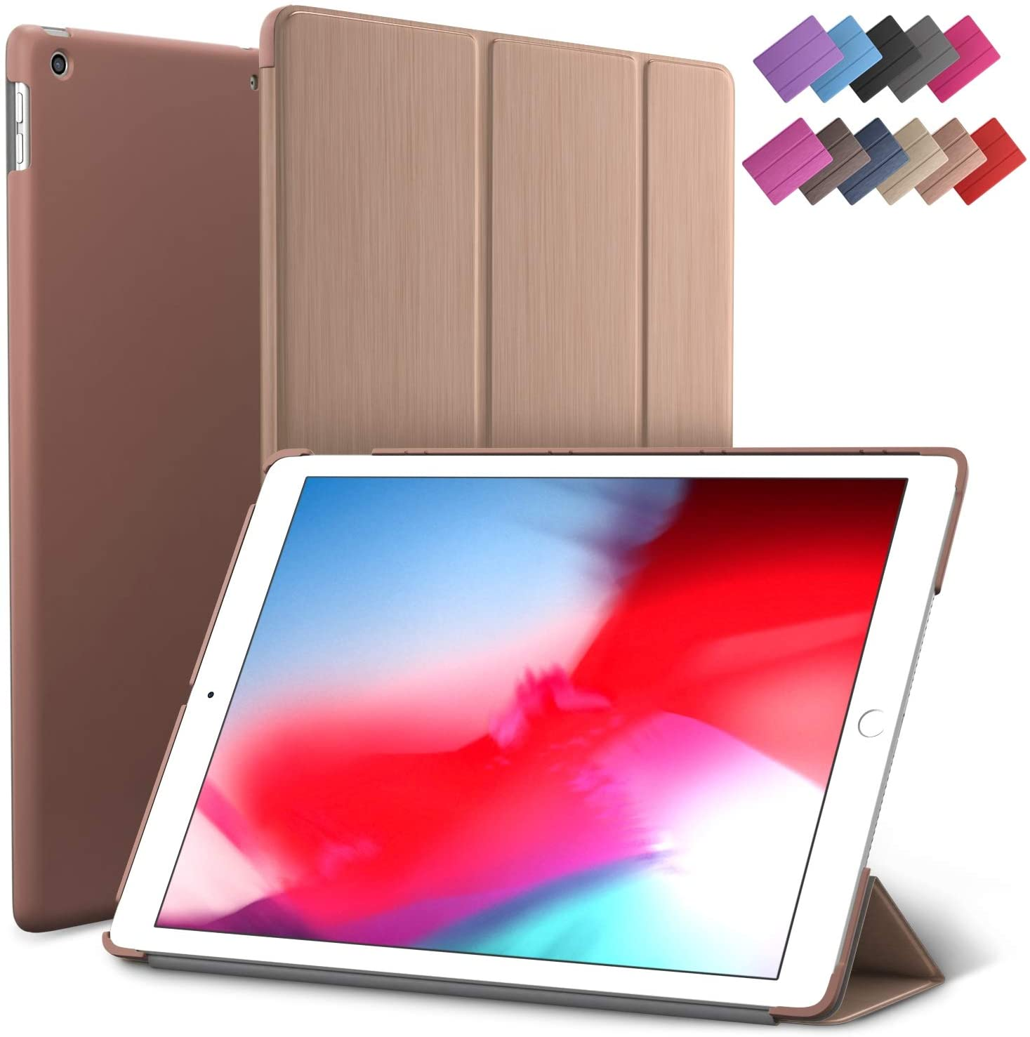 iPad Mini 5 case, ROARTZ Rose Gold Slim Fit Smart Rubber Coated Folio Case Hard Cover Light-Weight Wake/Sleep for Apple iPad Mini 5th Generation 2019 Model A2133 A2124 A2126 7.9-inch Display