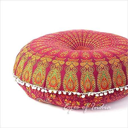 mandala pillow bohemian cover boho bar floor meditation seating round decorative in cushion handmade india dblu dog throw lrgfpl blue bed