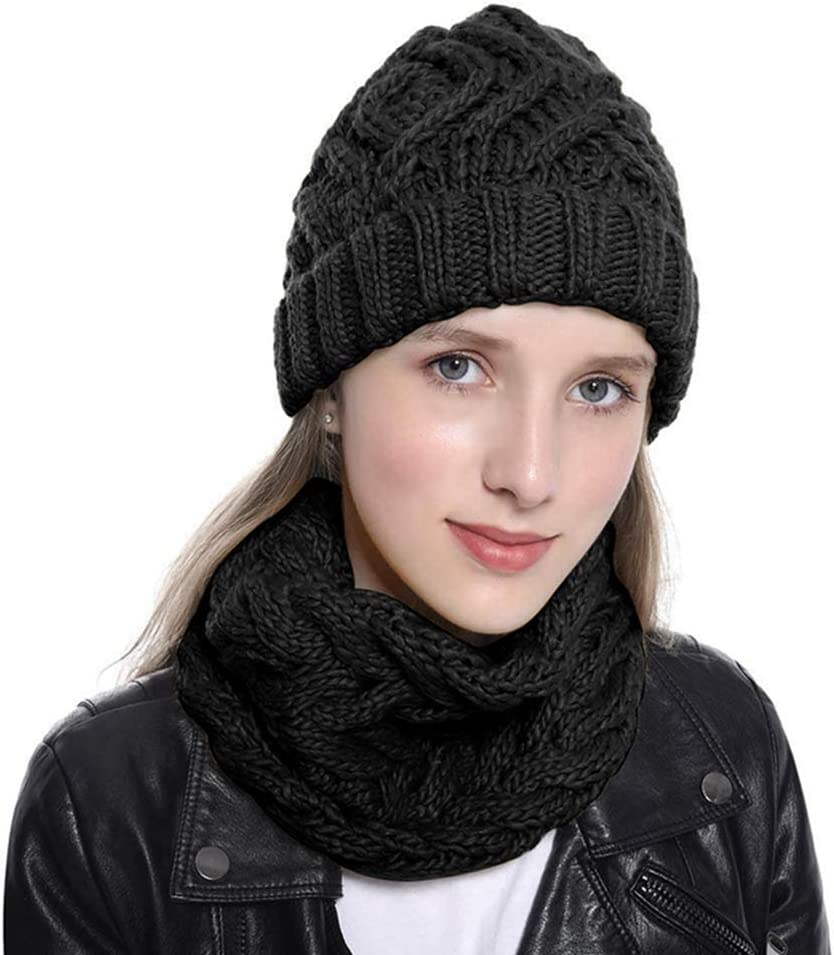 upain Beanie Hat Scarf Set Winter Warm Soft Knitted Slouchy Cap with Circle Loop Scarf Neckwarmer for Girls Ladies Womens