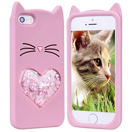 HopMore Gato Funda para iPhone 6S Plus/iPhone 6 Plus Silicona Dibujo 3D Divertidas Carcasa Kawaii Glitter Liquido Brillante Ultrafina Slim Case ...