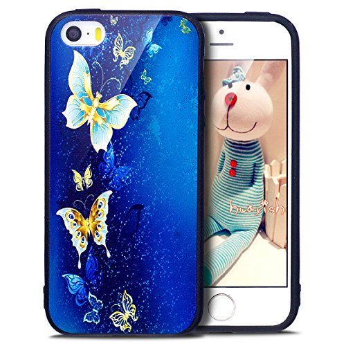 iPhone 5S Case,iPhone SE Case,iPhone 5 Case,ikasus Ultra Thin Colorful Art Painted Pattern Soft Black TPU Silicone Rubber Bumper Floral Back Case Cover for iPhone 5S 5 SE,Blue & Gold Butterfly