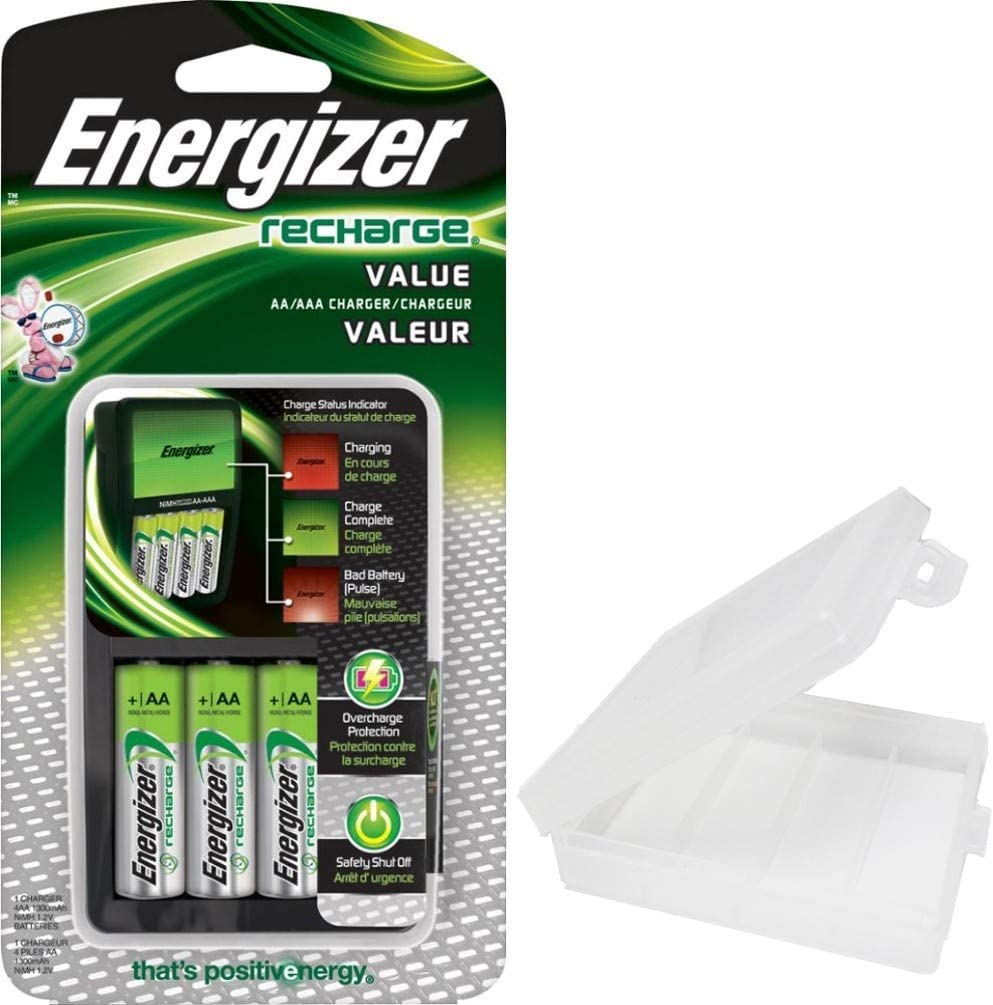 Amazon Com Energizer Rechargeable Aa And Aaa Battery Charger Includes 4 Aa Nimh 1300mah Rechargeable Batteries With Battery Case Home Audio Theater