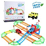 WEfun Car Track,Twister Flexible Tracks for Kids DIY with ABS Material Educational Car Race Tracks Set Bonus 3 Electric Colorful Car Toy
