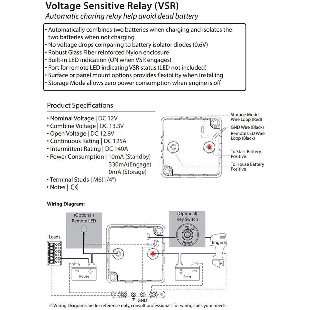 Prosperveil BEP DVSR DC 12 V 140 A MAX Digital Sensor Relé de Voltaje, Barco Marino, Negro: Amazon.es: Coche y moto