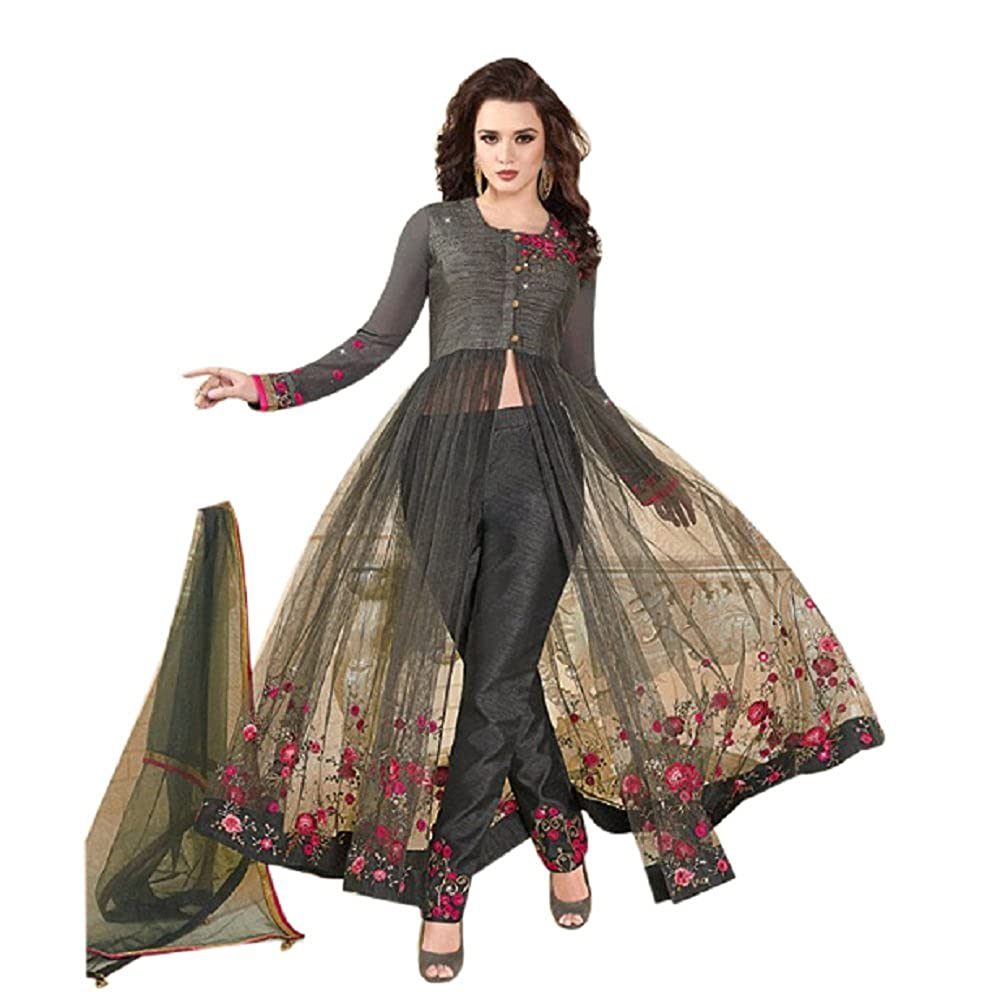 Buy Rama Fashion Women S Embroidery And Heavy Work Suit Attached With Beautiful Dupatta And Bottom Rf112 Grey Large At Amazon In