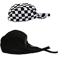 Blesiya 2 Pieces Chef Hat Provides Kitchen Heat Breathable With Adustable Strap