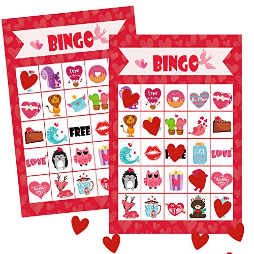 Valentine's Day Cards for Kids - Bingo Cards with 24 Players for Valentine Party Games, School Classroom Activities, Party Favors Supplies ()