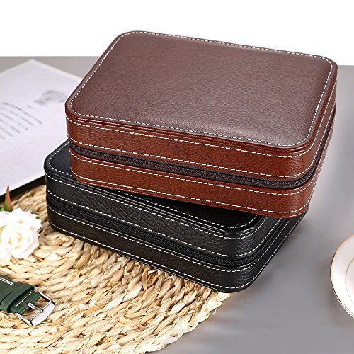 EleLight 4 Grids Watch Storage Display Box, Portable Travel Leather Watch Collector Storage Case for Men & Women as A Gift (Brown) by EleLight (Image #6)