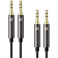 iVanky Aux Kabel, 3,5mm Audio Kabel, 1,2 M/2-Pack (Kupferhülse/Hi-Fi Sound), Klinkenkabel klinkenstecker kompatibel mit Kopfhörer Beats Bose, Echo dot, Smartphones, MP3 Player und mehr - Schwarz