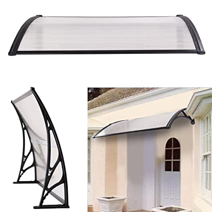 best service 3f43e 62425 DHOUTDOORS Door Canopy Awning Shelter Front Back Porch Out Door Shade Patio  Roof 100 x 150CM