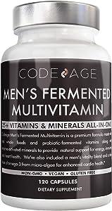 Men's Daily Multivitamin, 25+ Vitamins & Minerals, Fermented, Organic Whole Foods, Probiotics Supplement - Vitamin A, Vitamin B, Vitamins C, D, E & K, Omega 3, Zinc - Natural & Vegan - 120 Capsules