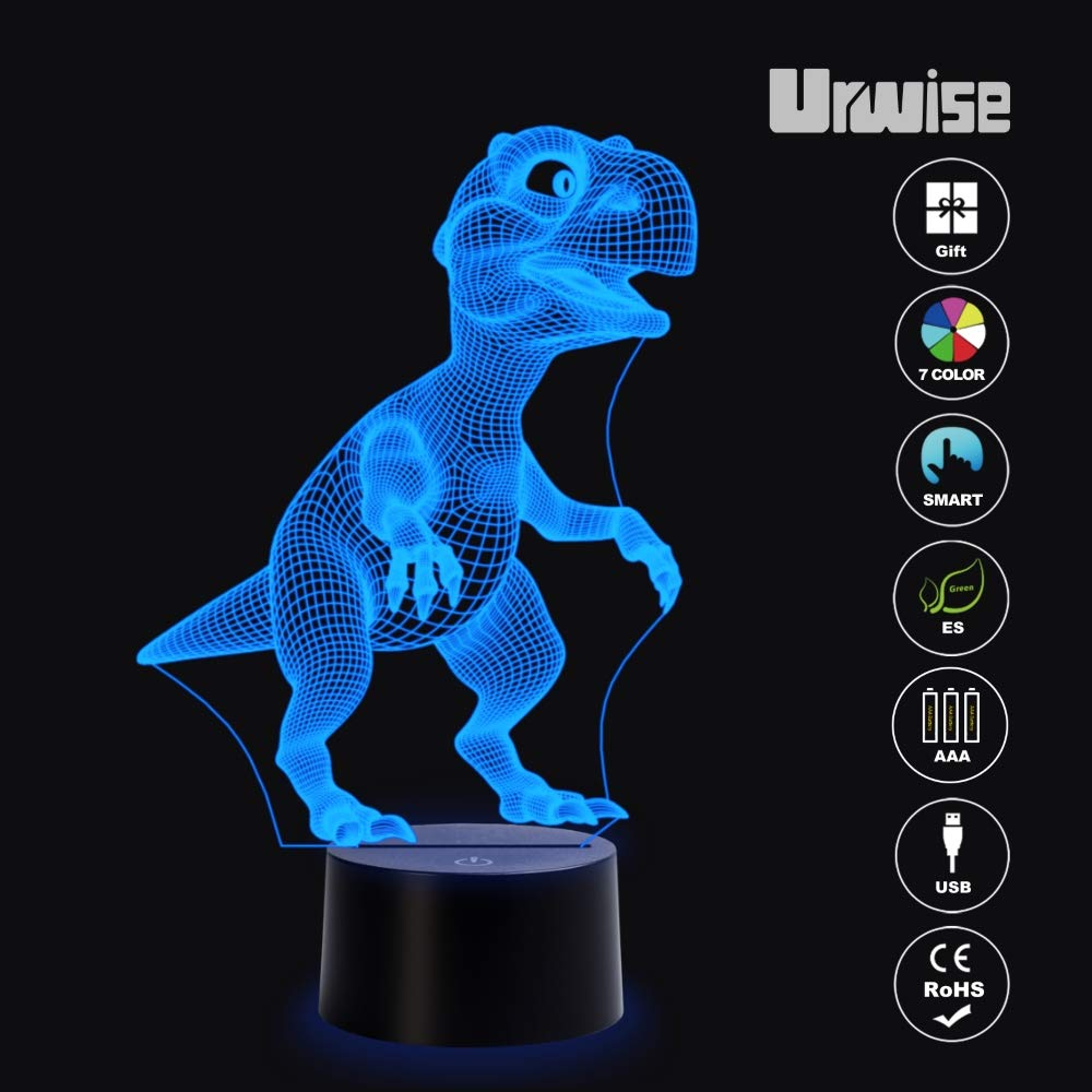 Amazing Creative Art Design for Childrens Christmas Gifts Amazing Creative Art Design for Children/'s Christmas Gifts Urwise Seven Color Variations Santa Claus Giving Presents 3D Optical Illusion Night Lights Smart Touch Button USB and Battery Power