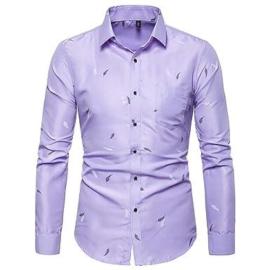 YEBIRAL Camisetas Hombre Manga Larga Solapa Casual Slim Fit ...