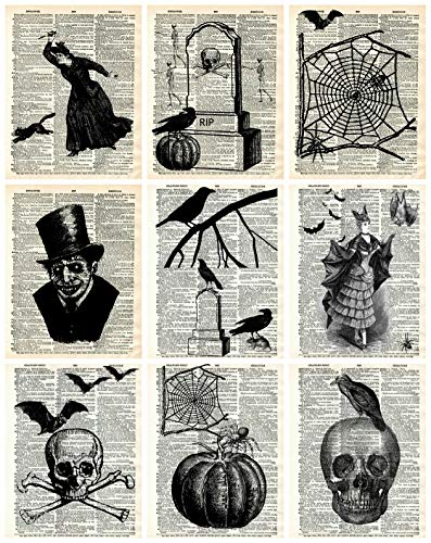 Halloween Dictionary Pages Collage Sheet, Halloween, Scrapbooking, ATC, Altered Art 8.5 x 11