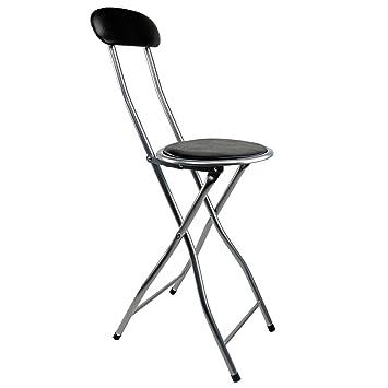 Trend Mark Round Folding Stool Chair Kitchen Breakfast Bar Office Stool Silver Frame Seat Bar Stools Home & Garden