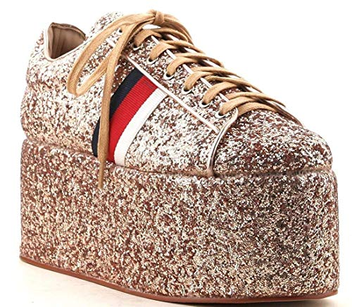 CAPE ROBBIN Momo-5 Glitter Ultra-Thick self-Covered Platform Lace up Flatform Creeper Sneaker (8.5, Rose Gold) - Cape Glitter
