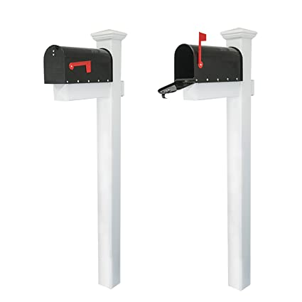 Houseables Mailbox And Post Kit Decorative Mail Box Included White Black 72 X 4 Vinyl Pvc Plastic Post Mounting Arm Aluminum Mailboxes