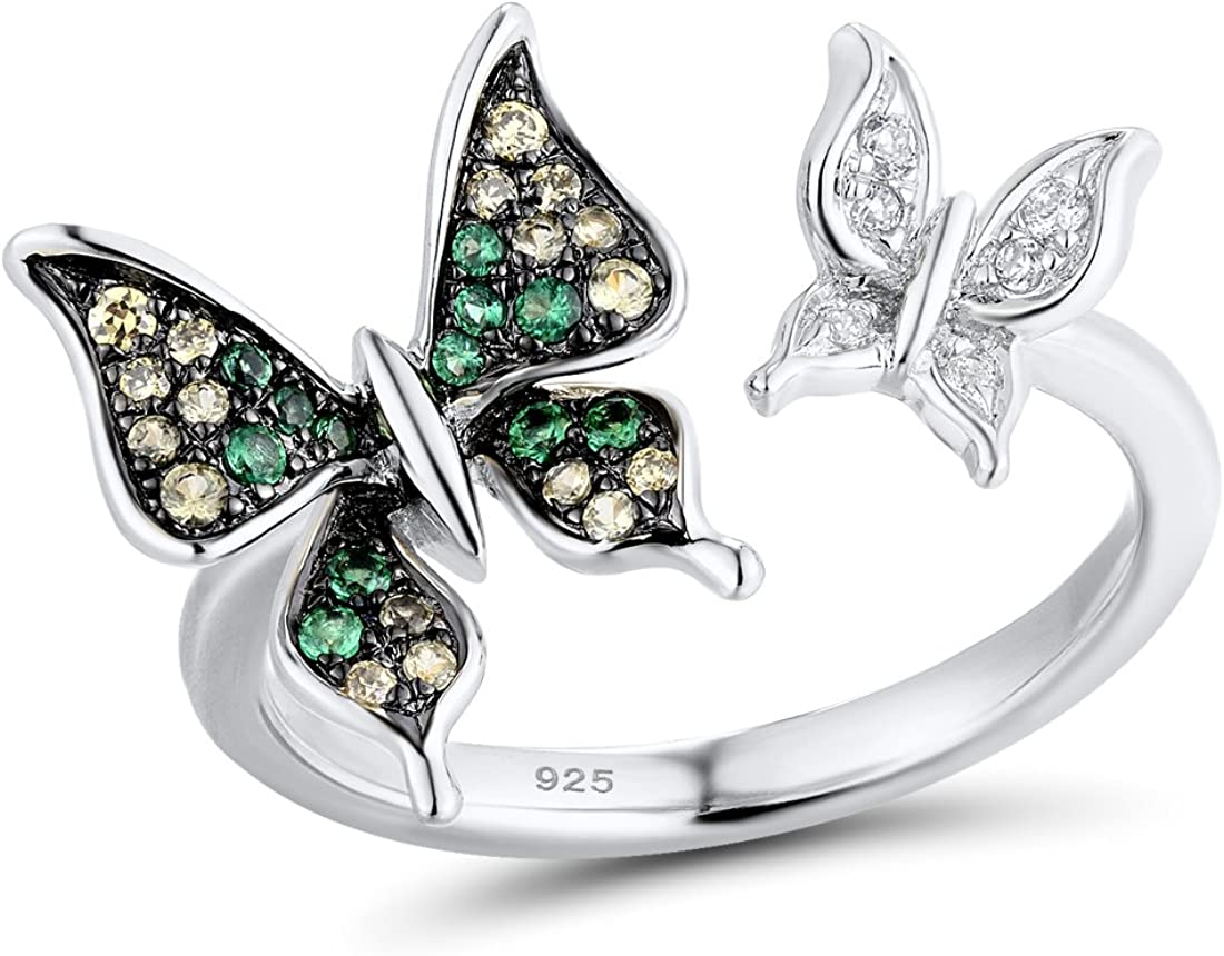 Santuzza 14K Rose Gold Plated Butterfly Ring 925 Sterling Silver Green Spinel