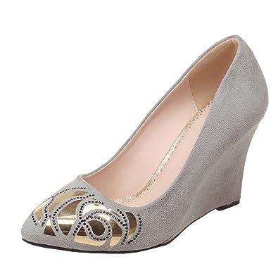 Agodor Damen Keilabsatz High Heels Pumps mit Pailletten und Strass Spitze Wildleder Elegante Schuhe