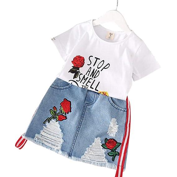 76d0d4bd EDTara 2 Pcs/Set Kids Girls Summer Rose Embroidery Short Sleeve T-Shirt +  Denim Skirt Set: Amazon.in: Clothing & Accessories