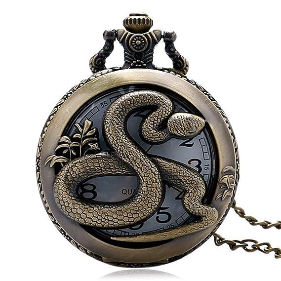 Reloj de Bolsillo para Hombre, Steampunk Zodiac, Reloj de Bolsillo Hueco, Cadena Colgante