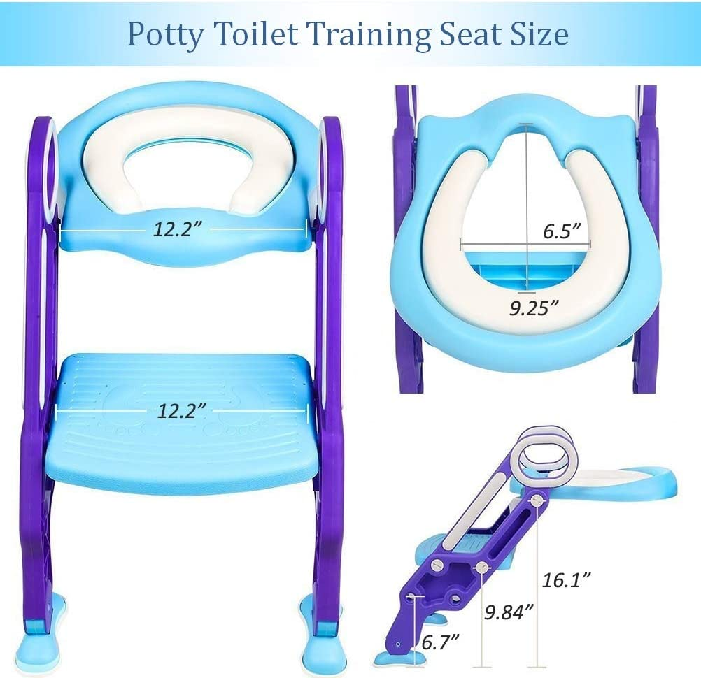 Potty Training Toilet Seat with Step Stool Ladder for Kids Children Baby Toddler Toilet Training Seat Chair with Soft Cushion Sturdy and Non-Slip Wide Steps for Girls and Boys Blue Green