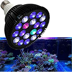 Niello 18W LED Aquarium Light Bulb Hood Lighting for Aquarium and Plant Growth,Full Spectrum Lights,Blue and White Light for Reef or Freshwater Refugium–Maximum PAR for Coral and Plant Growth