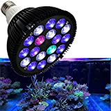 18W LED Aquarium Light Full Spectrum Led Grow Lamp Bulb with UV for Coral Reef Grow Fish Tank and Plant Growth