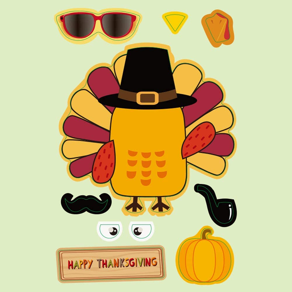 Children DIY Creation Turkey Face Stickers for Window Home Office Fall Autumn Party Decoration 24 PCS Thanksgiving Turkey Stickers for Kids Make a Turkey Sticker for Thanksgiving Party Games