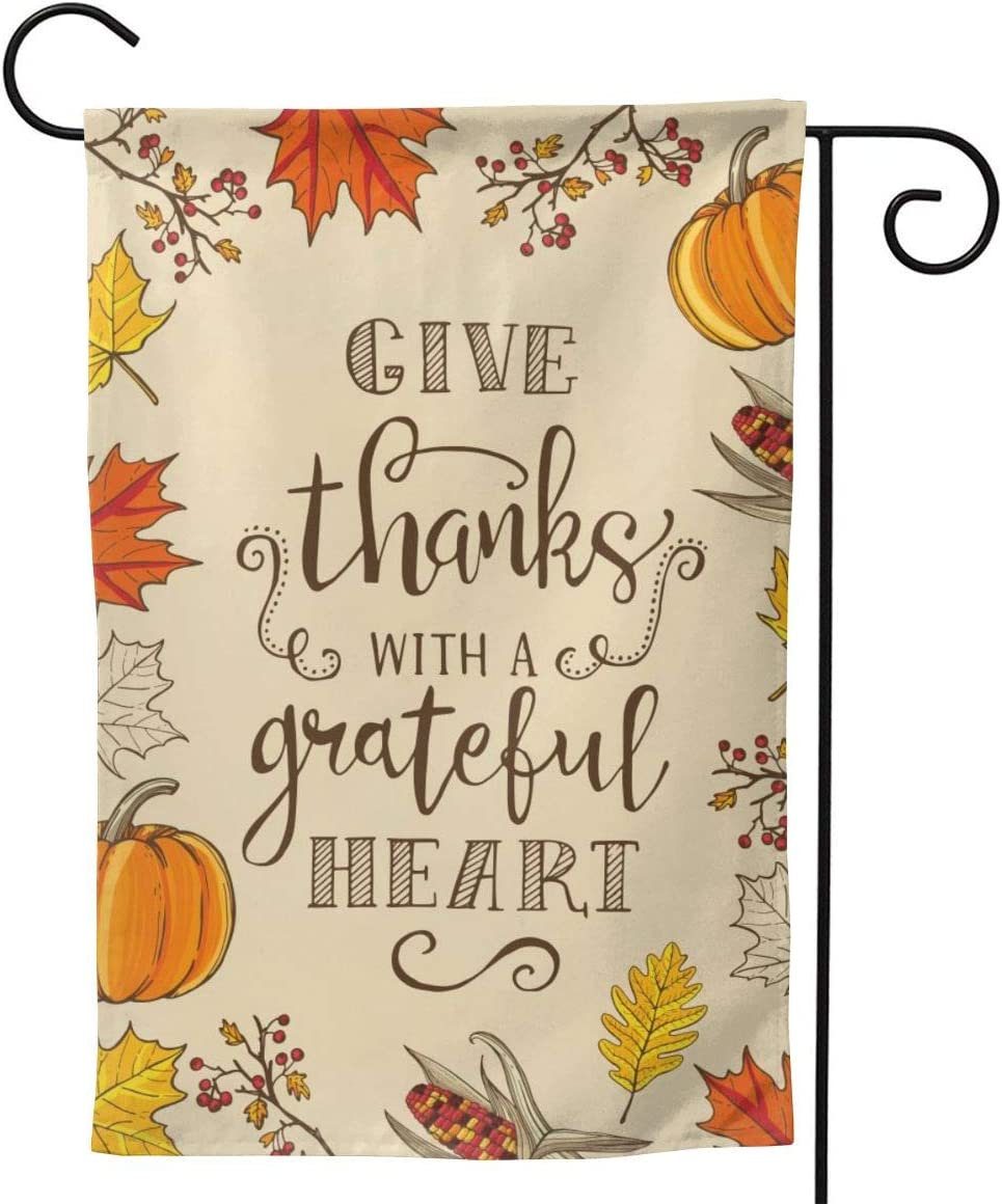 """YISHOW Happy Thanksgiving Fall Garden Flag Double Sided Vertical Give Thanks with A Grateful Heart House Flags Yard Signs Outdoor Decor 12.5""""X18"""""""